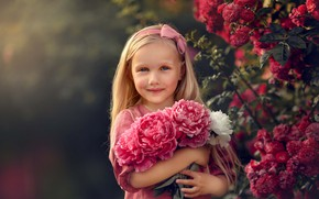 Picture summer, flowers, nature, Bush, roses, bouquet, girl, child, peonies, Васильчук Надья