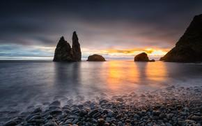 Picture sea, the sky, sunset, stones, rocks, coast, horizon, Alagoa