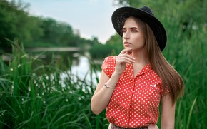 Picture greens, grass, water, trees, model, skirt, portrait, hat, makeup, hairstyle, blouse, brown hair, nature, posing, …