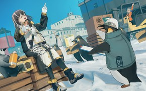 Picture snow, penguins, girl, Mayer, Arknights, Magallan