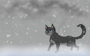 Picture cat, snow, background, art