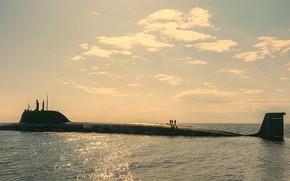 Picture boat, Kazan, underwater, atomic