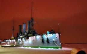 Picture winter, night, Aurora, cruiser