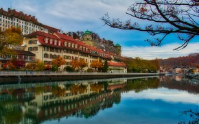Picture autumn, river, building, home, Switzerland, Aare, municipality, Бюрен-на-Ааре