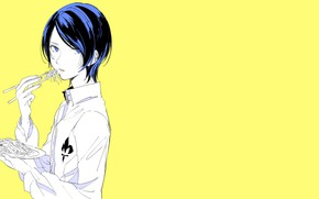 Picture the game, food, anime, art, plate, guy, yellow background, Person 5, Persona 5