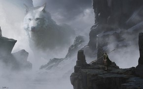 Picture weapons, warrior, spear, snowy mountains, weapon, art, snow, warrior, white wolf, montain, white wolf, Jake …
