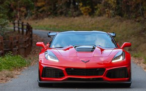 Picture Red, front view, Chevrolet Corvette ZR1, 2019