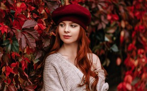 Picture leaves, girl, face, portrait, red, redhead, long hair, takes, Natalia Andreeva, by Альбина Пономарева