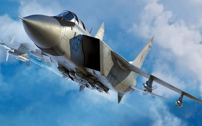 Picture fighter-interceptor, The MiG-31, Double, SOVIET AIR FORCE/VIDEOCONFERENCING, Combat aircraft, The MiG-31M