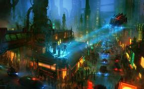 Picture Auto, Night, The city, Future, Machine, People, City, Fantasy, Art, Night, Fiction, Transport, Rooftop, Nikolai …