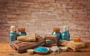 Picture towel, candles, soap, jars, bowl, blue, Spa, brick wall, bottle, washcloths, pumice, sea salt, соль …