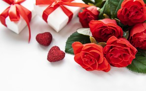 Picture roses, gifts, hearts, red, Valentine's Day, Olena Rudo
