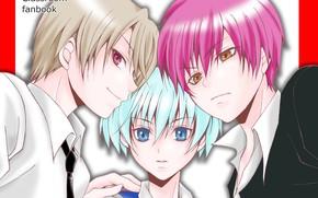 Picture anime, art, guys, trio, Ansatsu Kyoushitsu, the class assassins