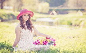 Picture summer, girl, flowers, hat, basket