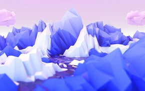 Picture rocks, ice, low poly