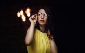Picture look, Girl, dress, glasses, hairstyle, curls, Sergey Potulny, Liza Frolova
