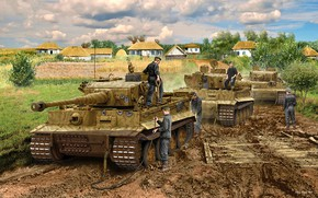 Picture Trees, Tiger I, The cable, Shrub, Tankers, Hut, Panzerwaffe