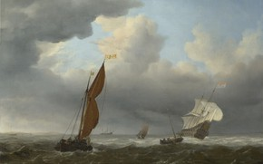 Picture ship, picture, sail, seascape, Willem van de Velde the Younger, A Dutch Ship and Other …