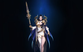 Picture Girl, Fantasy, Beautiful, Sexy, Art, Style, Minimalism, Characters, Armor, Spear, Figure, Bageumi, Artanis
