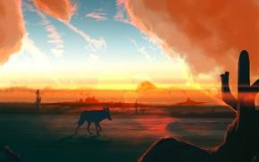 Picture Sunset, The sun, Figure, Sound, Fantasy, Landscape, Nature, Art, Art, Sun, Lone, Sunset, Shadow, Coyote, ...