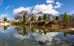Picture mountains, lake, Alps, Italy, South Tyrol, The Dolomites