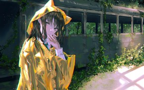 Picture girl, train, raincoat
