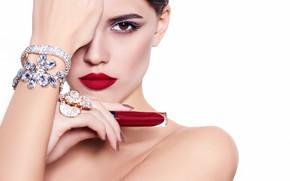 Picture girl, model, makeup, decoration, Elena Rossi