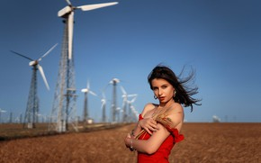 Picture girl, the wind, windmills, Lena
