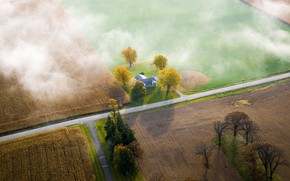 Picture Road, House, Wisconsin, USA, Field, The view from the top