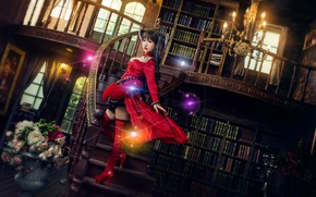 Wallpaper look, girl, light, flowers, red, lights, pose, glare, style, the dark background, castle, room, books, ...