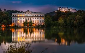 Picture trees, lake, reflection, castle, Austria, fortress, Palace, Austria, Salzburg, Salzburg, Hohensalzburg Fortress, Hohensalzburg Castle, Schloss …