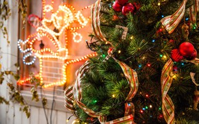 Picture winter, balls, branches, tape, holiday, balls, toys, lights, Christmas, New year, tree, garland, needles, elegant, …