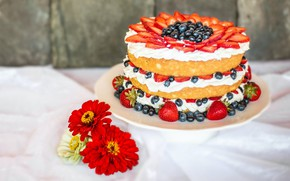 Picture flowers, berries, blueberries, strawberry, cake, red, layers, cream, dessert, sweet, composition, zinnias
