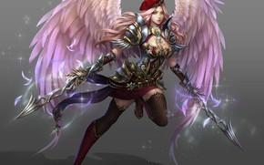 Picture look, girl, weapons, angel, sword, the warrior of light