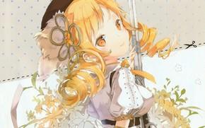 Picture the gun, takes, mahou shoujo madoka magica, flower in hair, Tomoe Mami, white blouse, sideways, …