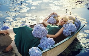 Picture girl, flowers, model, boat, blonde