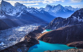 Picture sky, landscape, nature, mountains, clouds, lake, snow, mist, India, Himalayas, glacier, snowy mountains, snowy peaks