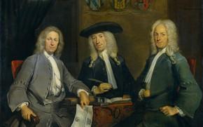Picture oil, portrait, picture, canvas, Cornelis Trost, Cornelis Troost, 1731, Три Управляющих Гильдией Хирургов в Амстердаме