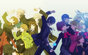 Picture girls, the game, anime, art, guys, characters, Persona 4, Person 4