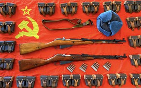 Picture hat, flag, cartridges, Mosin, Винтовки