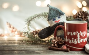 Picture winter, decoration, tea, scarf, Christmas, mug, New year, new year, Christmas, vintage, winter, cup, bokeh, …
