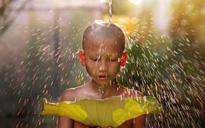 Picture water, light, children, sheet, child, boy, monk