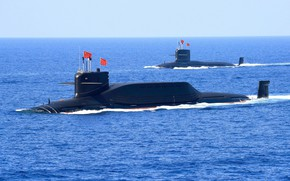 "Picture Wave, Flag, SSBN, Nuclear submarine, THE CHINESE NAVY, Submarines of project 094 ""Jin"""
