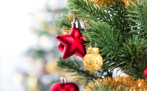 Picture decoration, balls, tree, New Year, Christmas, Christmas, balls, New Year, decoration, Merry, fir tree