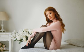 Picture look, girl, flowers, pose, feet, bed, makeup, tights, red, redhead, Alexey Gilev
