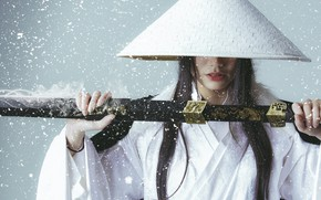 Picture girl, snowflakes, face, style, background, hair, sword