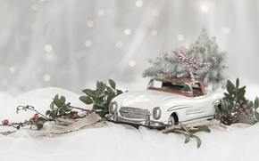 Picture winter, machine, leaves, snow, branches, berries, model, toy, lights, Mercedes, fruit, Christmas, New year, fabric, …