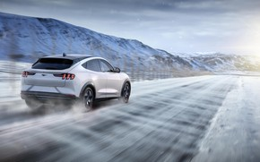 Picture road, snow, mountains, speed, Ford, Ford Mustang, crossover, electric, 2021, Ford Mustang Mach-E