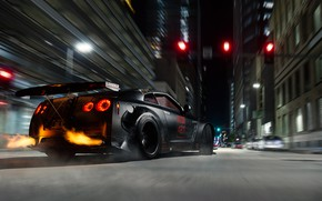 Picture Nissan, GT-R, Fire, R35, Drifting