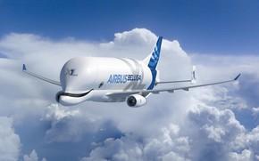 Picture the plane, Clouds, the plane, Cargo, Airbus, Beluga, A300, Airbus Beluga, Super Transporter, Beluga XL, …